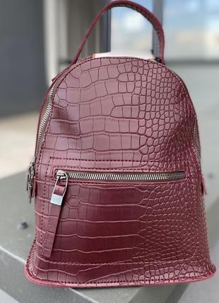 Стильний молодіжний рюкзак з рифленої еко шкіри бордового кольору