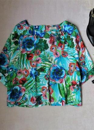 Блуза свободная в цветочный принт