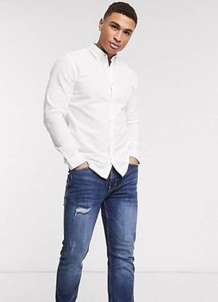 😉1+1=3 фирменная белая мужская рубашка сорочка massimo dutti, размер 46 - 48