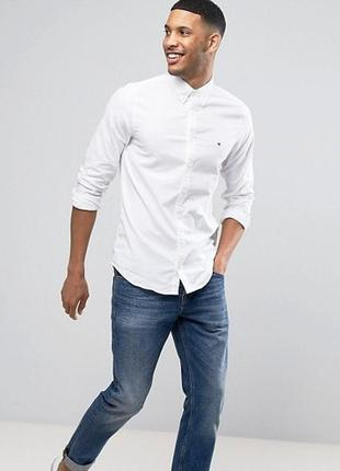 😉1+1=3 фирменная белая рубашка сорочка с длинным рукавом tommy hilfiger размер 48 - 50