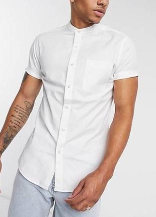 😉1+1=3 стильная базовая белая рубашка сорочка с коротким рукавом, размер 46 - 48