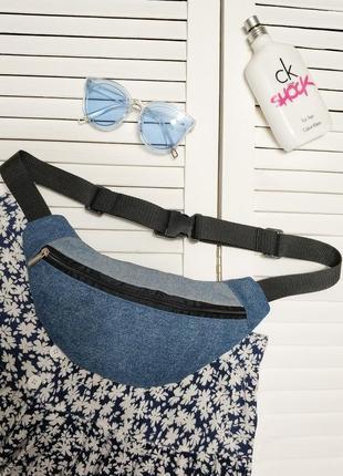 Распродажа! бананка голубая, синяя, джинсовая, сумка на пояс, джинс коттон
