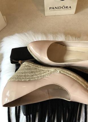 Невероятно роскошные крутые пудровые туфли на плетёной танкетке, р.38,5/39-25см....👠❤️🌹