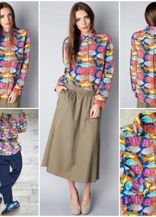 Яркая стильная рубашка, блузка в рыбки.