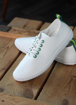 Распродажа белые кеды с зеленой отделкой, кеды, мокасины, кроссовки 36-41