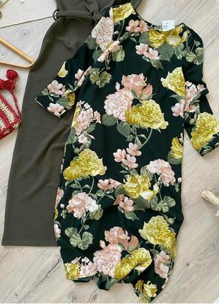 Шикарное платье миди сукня принт цветы
