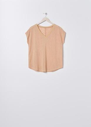 Новая широкая персиковая бежевая футболка оверсайз блузка тонкий материал xs s m l xl