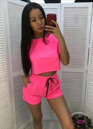 Розовый спортивный костюм футболка шорты повседневный костюм шотры топ