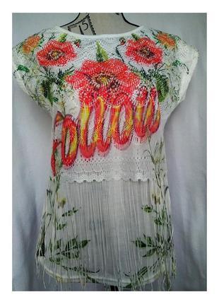 Катоновая футболка с цветочным принтом