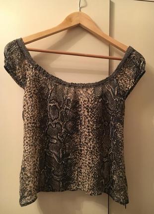 Шелковый топ блуза с кружевом змеиный принт питон 100% шелк linea
