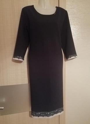 Турция. элегантное очень красивое вафельное платье миди с отделкой кружевом
