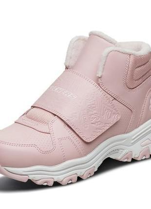 Оригинальные детские ботинки skechers d'lites series, нежно розового цвета (664136l pnk)