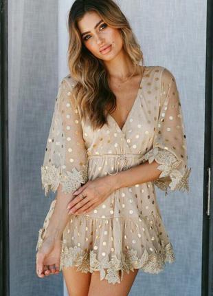 Платье сетка с набивным кружевом и принтом в золотой горох