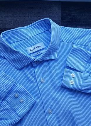Брендовая топовая базовая рубашка в полоску размер м calvin klein