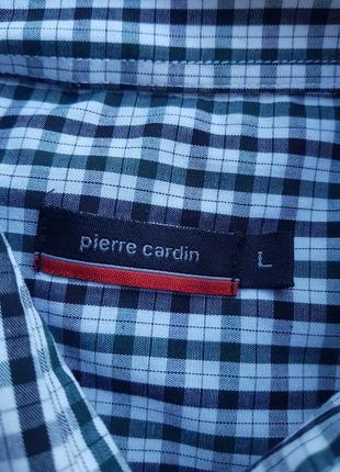 Брендовая топовая рубашка в клетку размер l pierre cardin