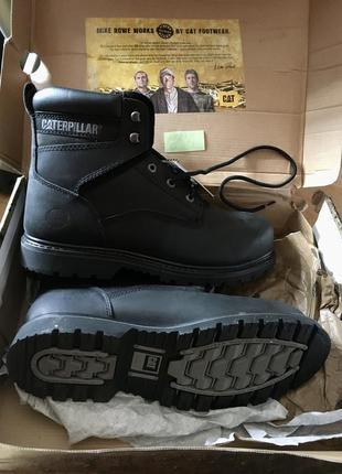 Caterpillar мужские чёрные ботинки на супер  подошве. натуральная кожа.