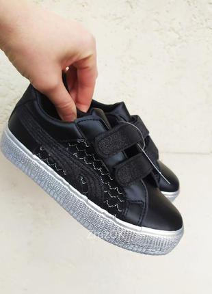 30-35 р черные на липучках туфли кроссовки кеды мокасины на девочку школьные