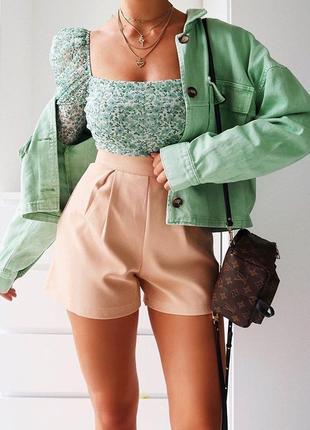 Джинсовка,джинсовая куртка,мятная,ментоловая,укороченная,оверсайз