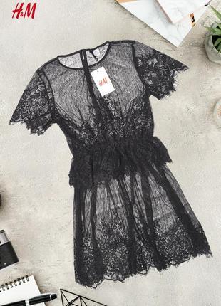 Новое нежное кружевное платье h&m