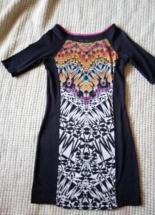 Брендовая туника короткое платье с принтом грифельного цвета(оригинал)