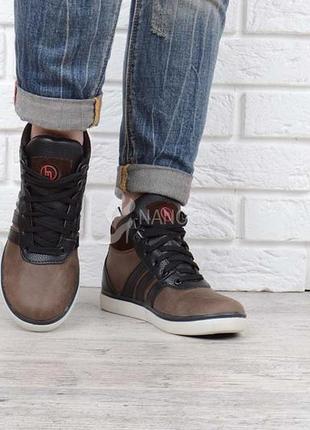 Ботинки кожаные monster racer коричневые на шнуровке украина