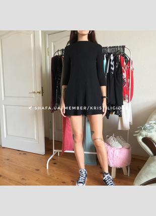 Чёрное короткое платье в рубчик. р. м