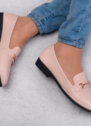 Стильные бежевые туфли балетки лоферы большой размер батал