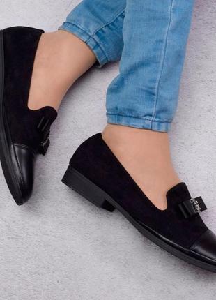 Стильные черные замшевые туфли балетки лоферы большой размер батал