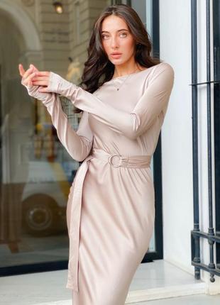 Платье шелковое нюдовое платье силуэтное миди под пояс