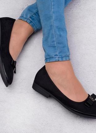Стильные черные замшевые туфли балетки большой размер батал с бантиком