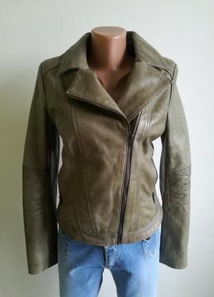 Косуха крутая, качественная натуральная брендовая кожанка next, кожаная куртка хаки