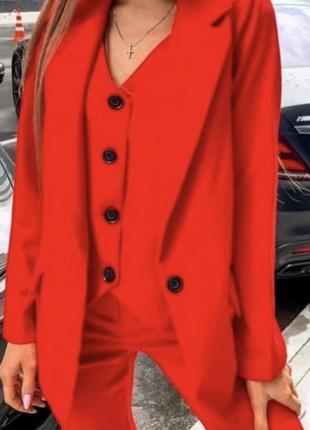 Красный костюм тройка с жилеткой