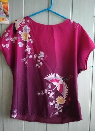 Красивая футболка, топ с китайскими журавлями