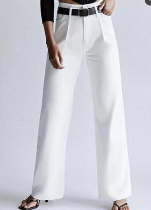 Белые свободные широкие джинсы zara