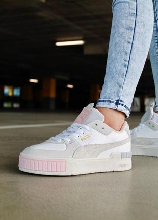 Женские кроссовки ◈ puma cali sport mix white grey pink ◈ 😍