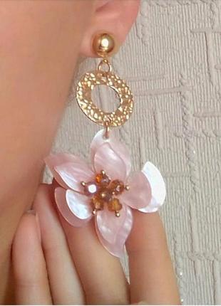 Серьги цветочки сережки розовые вечерние