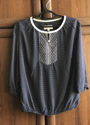 Блузка в горох. темно-синяя блузка