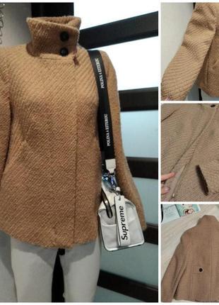 Натуральная шесть стильное бежевое пальто пиджак жакет кардиган блейзер