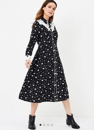 Платье в черно-белый принт на пуговицах спереди george (размер  12)