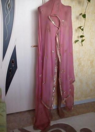 Роскошный  шифоновый платок 230 см с бисером и пайетками/платок/шарф/палантин/парео
