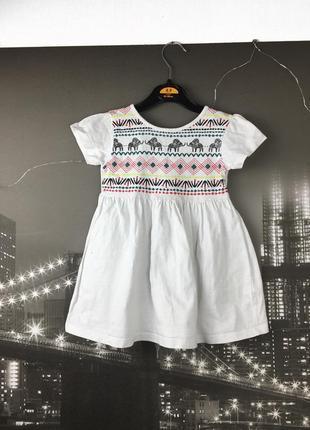 Белое платье с красивой спинкой на 2-3 года