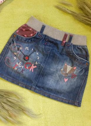 Юбка джинс ждинсовая с вышивкой апликация часы лисичка лиса