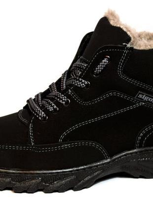 Ботинки мужские черные из эко-нубука зимние(сб-06)