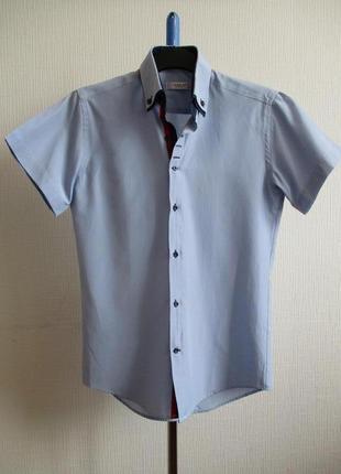 Хлопковая приталенная рубашка slim fit с коротким рукавом в клетку vels