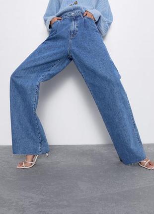 Джинсы клёш высокая посадка zara wide leg jeans