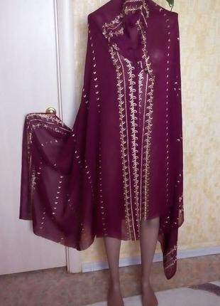 Огромный палантин 220 см  вышивка золотыми нитками//платок/шарф/палантин/парео/сари