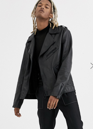 Черная кожаная куртка asos !