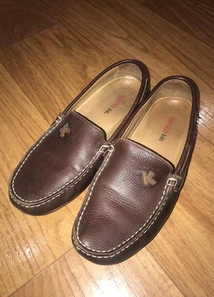 Коричневые  кожаные мокасины  туфли kenzo