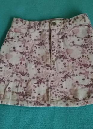 Вельветовая юбка в цветочный принт h&m