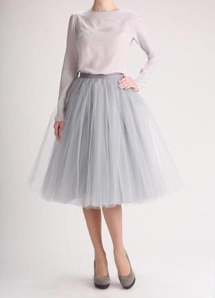 Фатиновое серое/серебристое вечернее платье, делалось на заказ, размер s, новое.